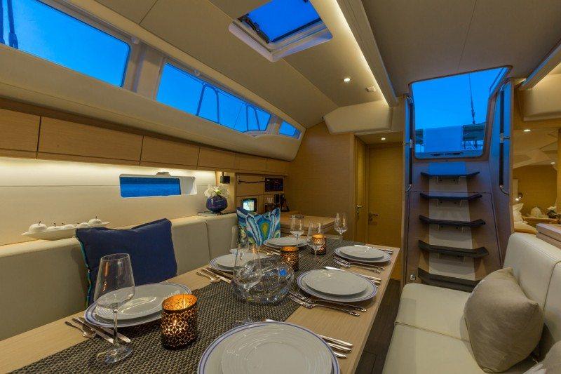 dining aboard Jeanneau 54