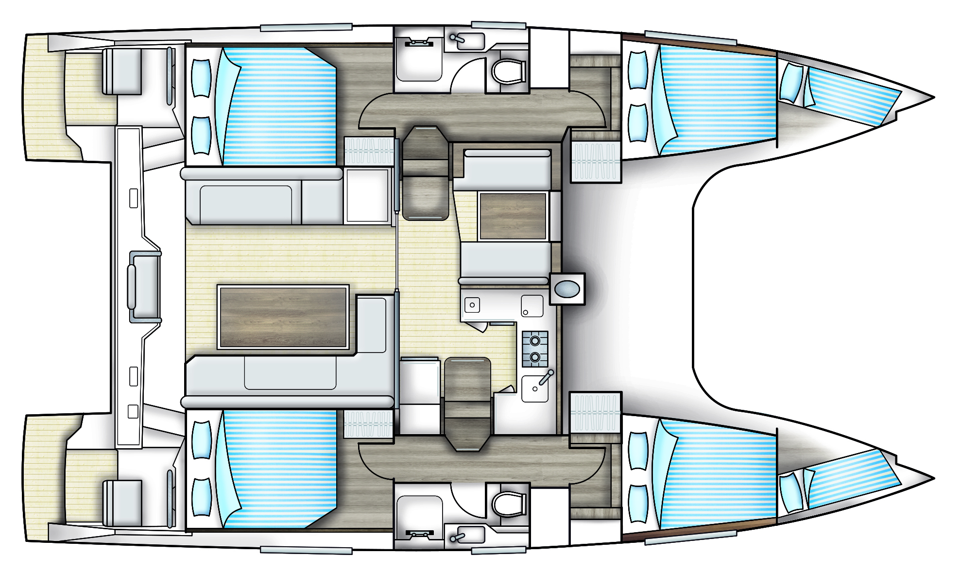 Bavaria Nautitech Open 40 Deck Layout