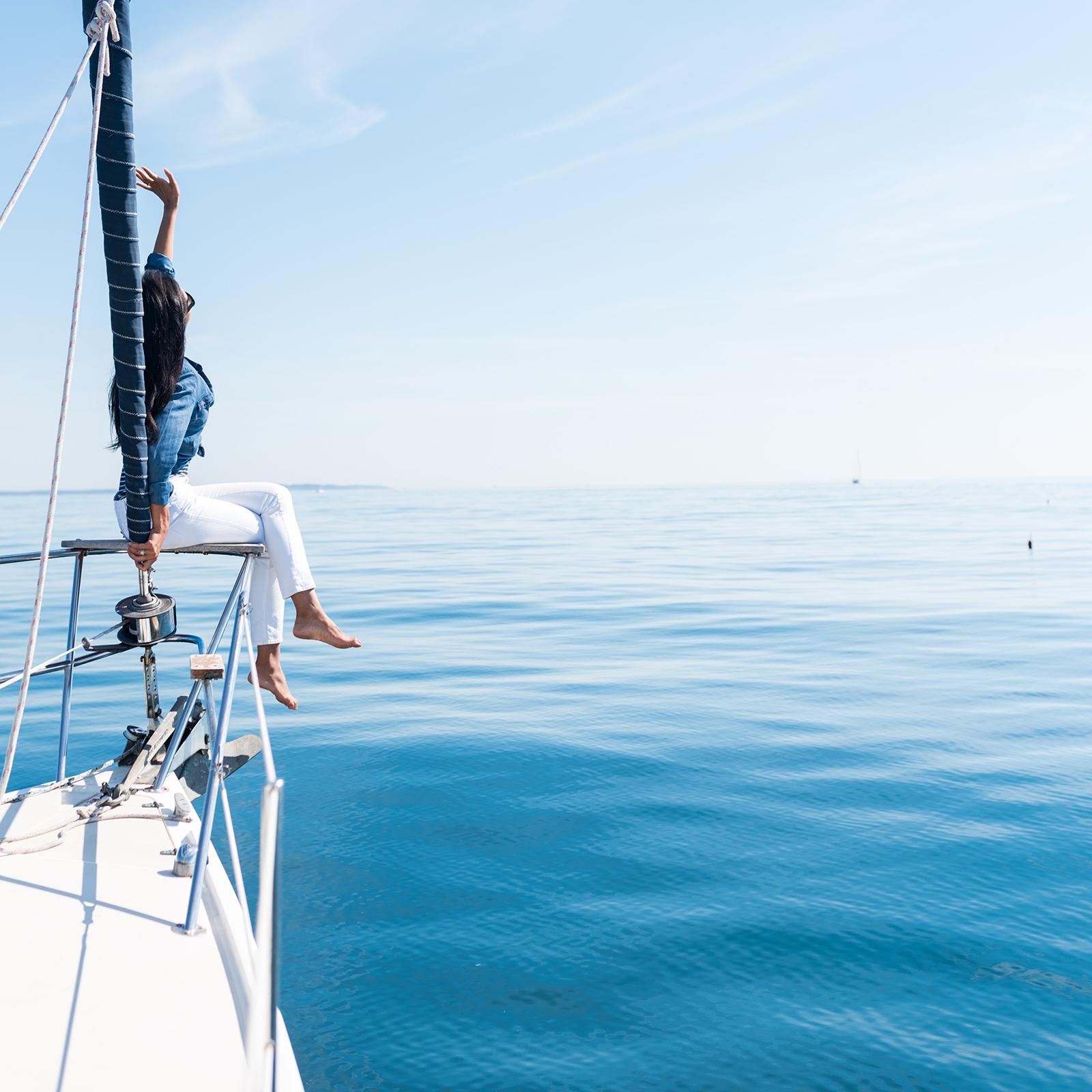 Sailing on a calm open sea